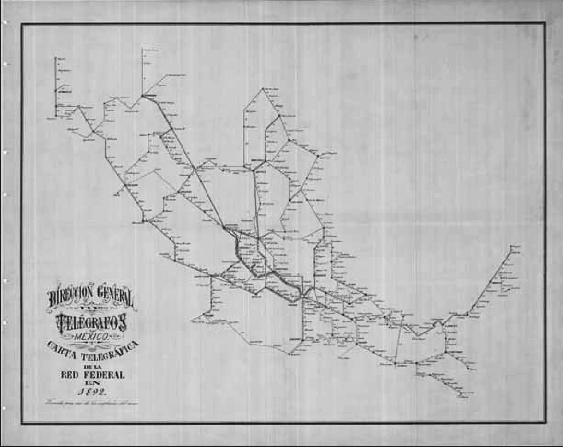 Mapa red telegráfos en México 1892