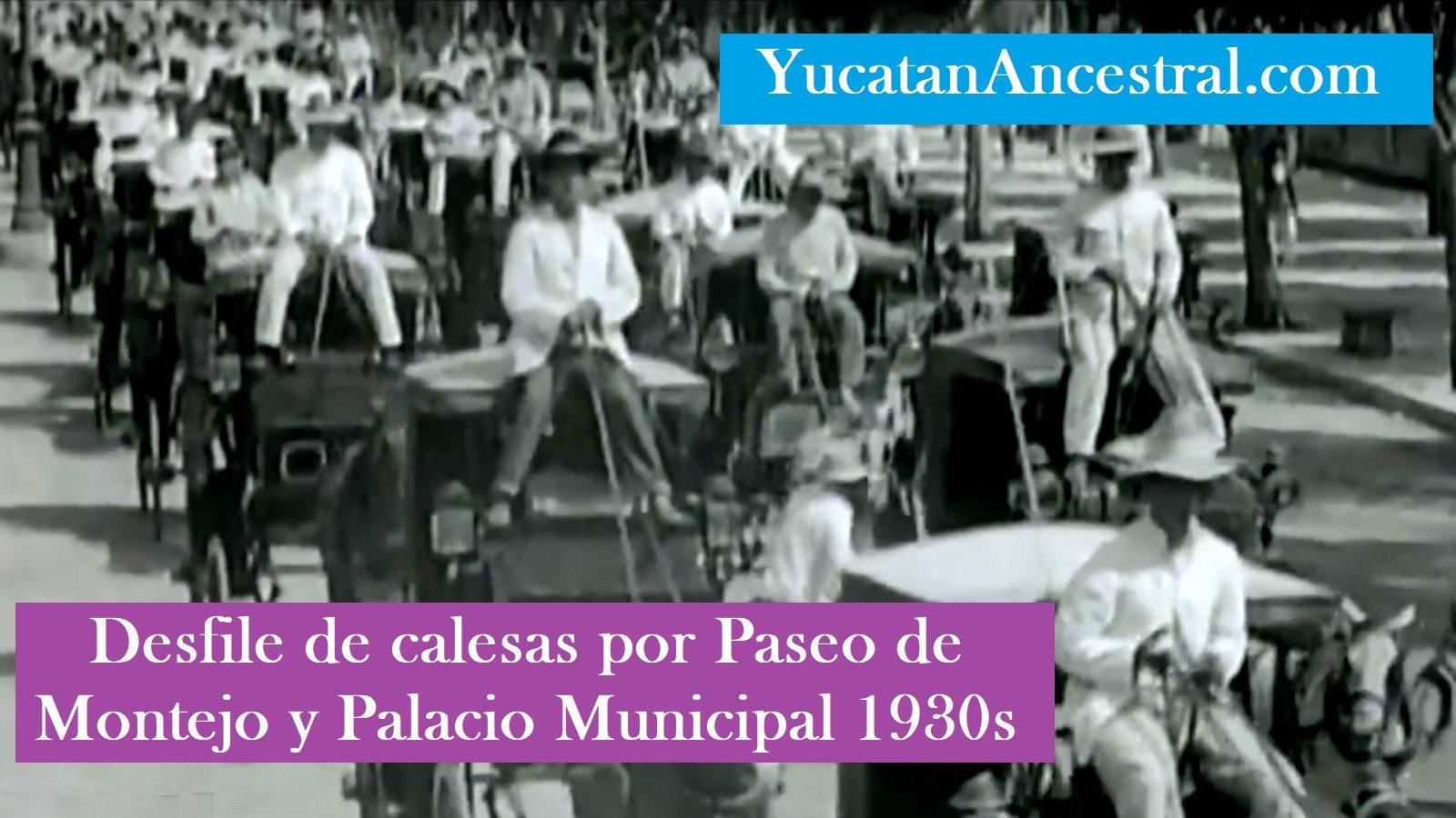 Desfile de calesas en Paseo de Montejo de Mérida 1930s