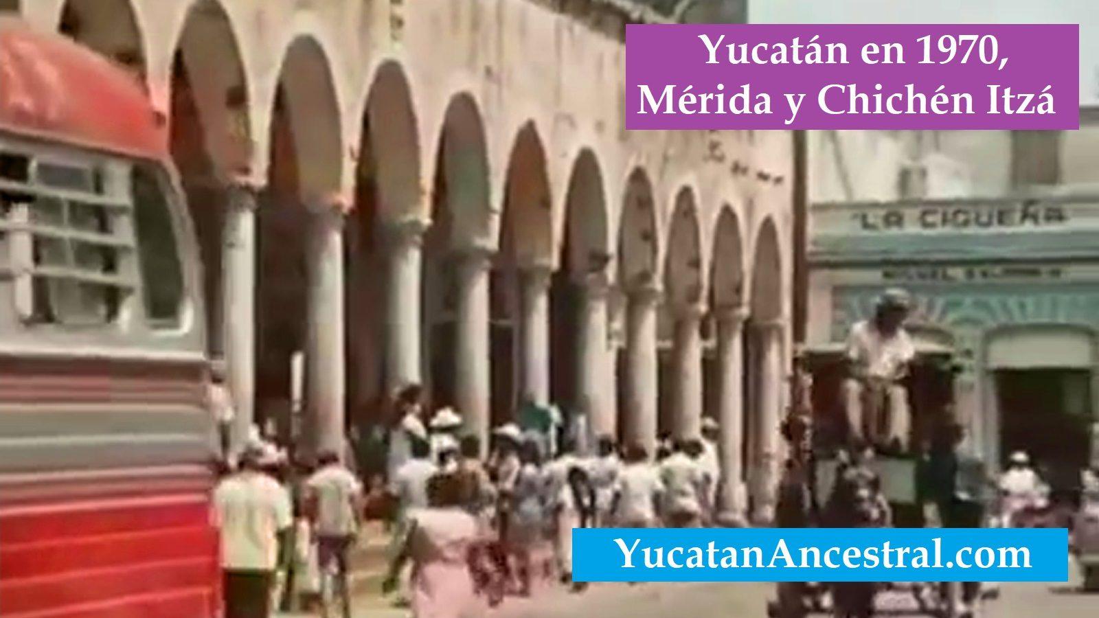 """se observan escenas del """"Portal de Granos"""" ubicado en la calle 56-A por 65 del Centro Histórico de Mérida.Yucatán en 1970 Mérida y Chichén Itzá"""
