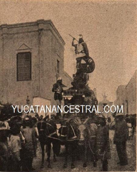 Carro de la Cervecería Cuauhtémoc en el Carnaval de Mérida en 1898