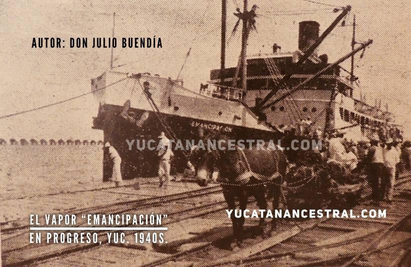 """El vapor """"Emancipación"""" en el antiguo muelle de Progreso"""