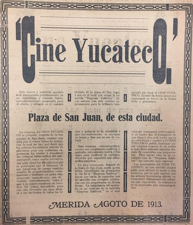 Cine Yucateco y Empresa Zaldivar en 1913