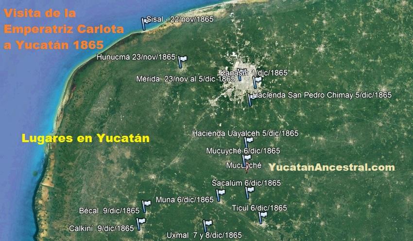 Ruta del viaje de la Emperatriz Carlota a Yucatán